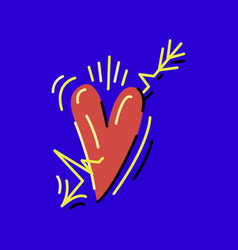 Heart with music arrow colored vector