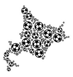 Hokkaido island map composition of soccer balls vector