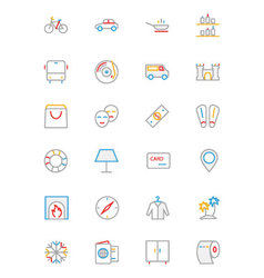 Hotel and Restaurant Colored line Icons 5 vector