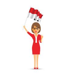 Indonesia flag waving woman vector