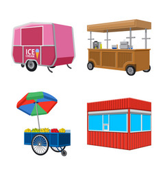 Isolated object booth and kiosk sign set of vector
