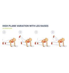 Leg raise plank woman workout exercise colorful vector