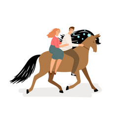 love couple riding a horse horse man and vector image