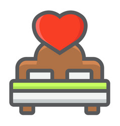lovers bed with heart filled outline icon vector image
