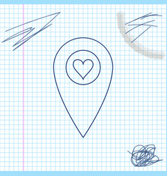 map pointer with heart line sketch icon isolated vector image