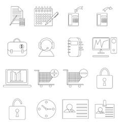 Marketing icons set thin line style vector image