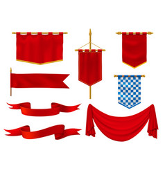 medieval flags and banners royal red fabric vector image