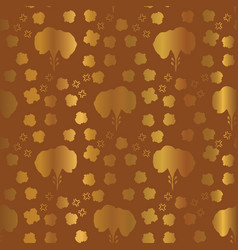 Metallic copper gold floral pattern seamless vector