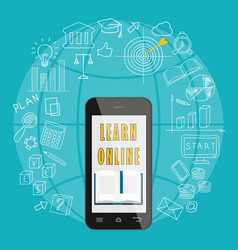mobile learn online vector image