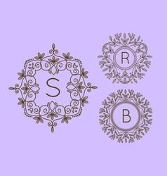 Monogram logo and text badge emblem line art vector
