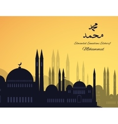 Mosques silhouette on sunset sky background vector image