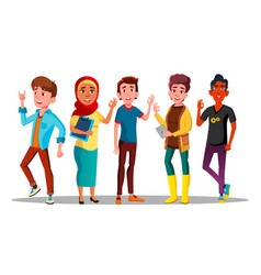 mulicultural characters people satisfied vector image