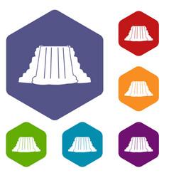 Niagara falls icons set hexagon vector