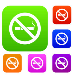 no smoking sign set collection vector image