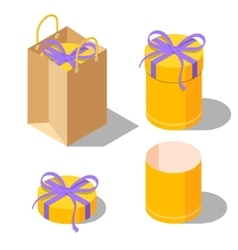 Opened and closed present gift cylinder boxes vector