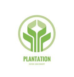 Organic natural product logo design green leaves vector