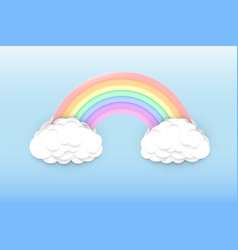 Pastel colors rainbow and clouds vector