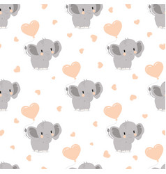 pattern with elephants and hearts vector image