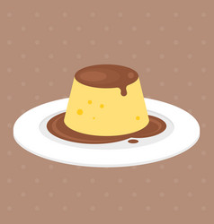 Pudding or custard with caramel vector