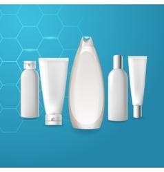 Realistic cosmetic bottle tube mock up set vector image