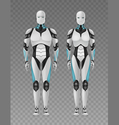 realistic robots transparent composition vector image