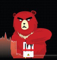 red bear push down circuit breakers concept vector image