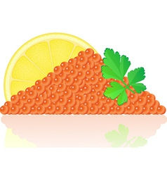 Red caviar with lemon vector