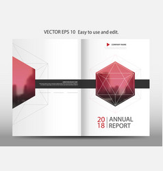 Red geometric hexagon annual report brochure vector