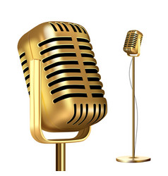 Retro golden microphone with stand record vector