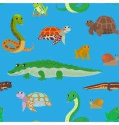 Seamless pattern with cartoon sea animals vector