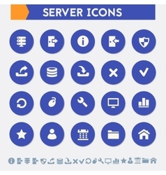 Server icon set Material circle buttons vector