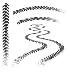 set high quality grunged tire tracks vector image