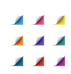 Set of realistic paper corners on white vector image vector image
