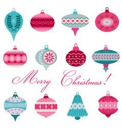 Set of Vintage Christmas Tree Balls vector image