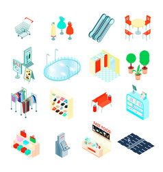 Shopping mall isometric icons set vector