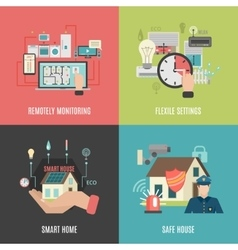 Smart home 4 flat icons square vector image