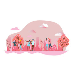 spring pink park with funny peoples outdoor urban vector image