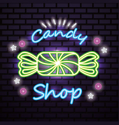 sweet candy shop neon vector image