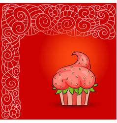 sweet cupcake look like strawberry vector image