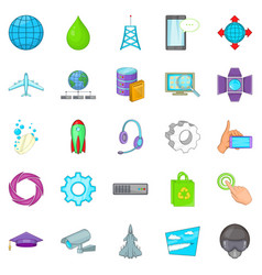 Technology icons set cartoon style vector