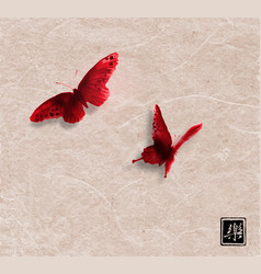 two red butterflies on vintage paper background vector image