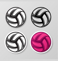 volleyball different symbol stickers set vector image