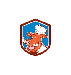 Wild pig boar chef cook head shield cartoon vector