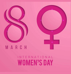 womens day typographic design with pink background vector image
