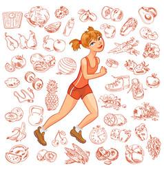young woman jogging vector image