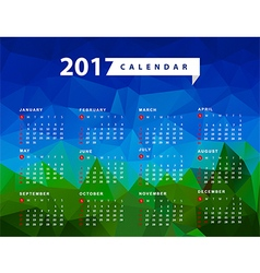 Calendar for 2017 year Week starts from Sunday vector image vector image