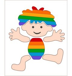 cheerful rainbow baby stylized image vector image
