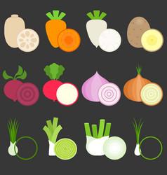 flat design vegetables icons set 1 vector image vector image