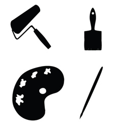 painting tools silhouette vector image