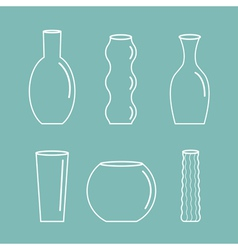Vase outline icon set Ceramic Pottery Glass Flower vector image